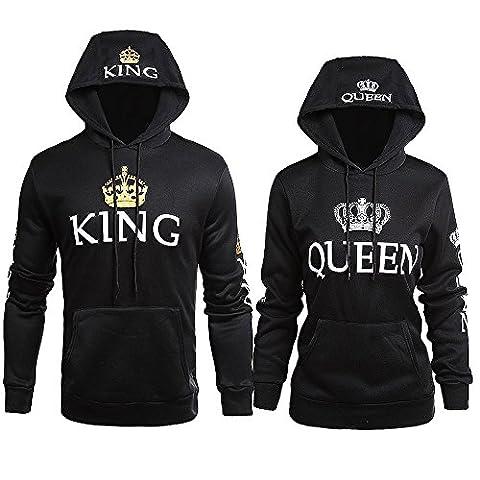 King Queen Pull Couple Hoodies Paire Set Pour Femme et Homme Impression des KING ET QUEEN à Capuche Manches Longues Pullover 2 Pieces Par JWBBU® (King-L+Queen-S, Noir et Noir)