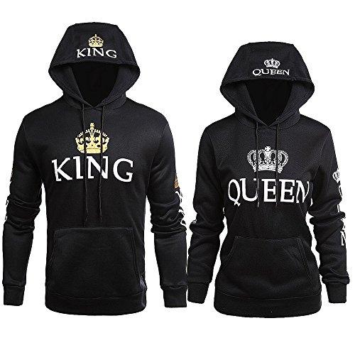 Sudaderas king Queen para mujeres y hombres impresión KING QUEEN con capucha Manga Larga Sweater 2 piezas por JWBBU® (King-M+Queen-S, Negro)