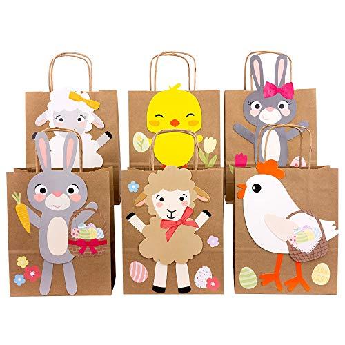 Papierdrachen Sacchetti per Regali Fai da Te per Pasqua con Conigli Pecore e Pulcini da riempire a Piacere - per confezionare Regali per Bambini e Adulti