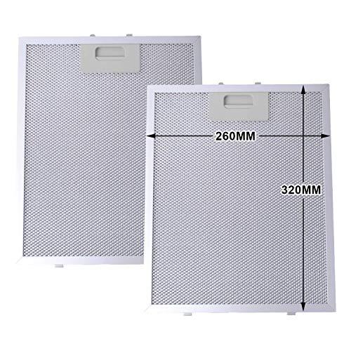 Poweka Dunstabzugshaube Metall Filter (Silver, 320 x 260mm, 2 stück)