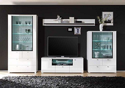 Wohnwand in Hochglanz weiß mit Grauglas und schwarzem Siebdruckrahmen, Gesamtmaße: B/H/T ca. 370(350)/203/40-45 cm