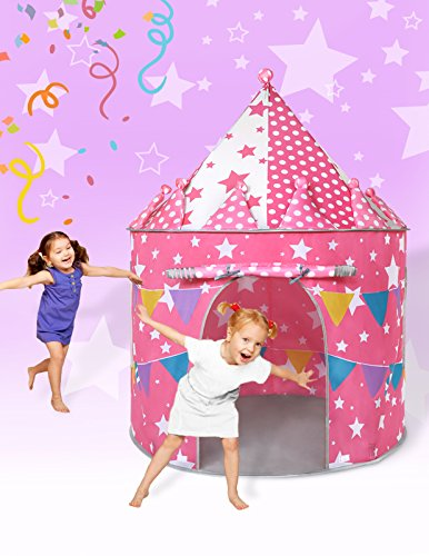 SUGAR Q Large Size Safe Cake Play Tent for Children in Pink Castle Designed for Princess Girls with Star Waterproof Ball Pit Playhouse for Outdoor Indoor Present