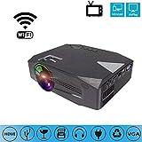 LYZL proiettore Smart WiFi LED proiettore-Bluetooth, HD 720, Full HD 1080p proiettore HDMI per Home Theater, Home Entertainment, Hotel, Ufficio, conferenza,Black