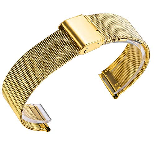 Vamoro Milanese Edelstahlarmband für Huami Amazfit Bip Jugenduhr Edelstahl Metall Uhrenarmband Ersatz Uhren-Armband Ersatzband Uhrenarmband(Gold)