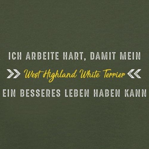 Ich arbeite hart, damit mein West Highland White Terrier ein besseres Leben haben kann - Herren T-Shirt - 12 Farben Olivgrün