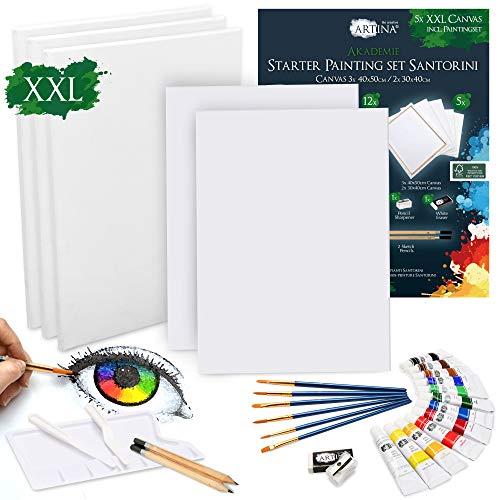 Artina 30 Teile XXL Keilrahmen Set & Acrylfarben Set Santorini - Malset Acryl mit 40x50cm & 30x40cm Keilrahmen & viel Zubehör für Erwachsene und Kinder