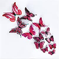 Macxy - 12Pcs/Lot 3D Double Butterfly Wall Sticker on the wall for Home Decor DIY Butterflies Fridge Magnet stickers Room Decoration [ 8 2PC ]