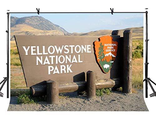 EdCott 7X5ft Berühmte Zeichen Kulisse Yellowstone Nationalpark Fotografie Kulissen Fotostudio Hintergrund Requisiten LYP124