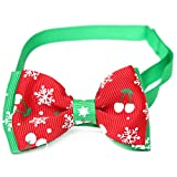 Kungfu Mall Christmas collare del gatto cane regolabile collari Christmas Bow Tie Christmas Snowflake decorazione graziosa collana Bowtie party costume