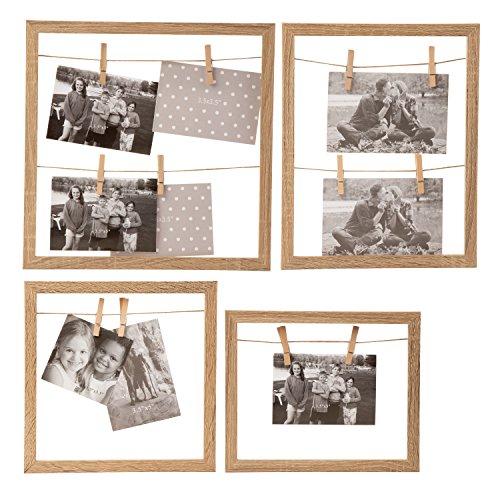 Neue Antik-weiß Lackiert Holz (Juvale Foto Display Frames-4er Pack Holz Rahmen Clips Saiten Foto Display, rustikal Stilvolle Offene Rahmen Bilder, aufhängen Wand Décor Zuhause, Hochzeit, Bridal Dusche, Baby Dusche, 4als)