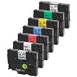 7er Set Schriftband kompatibel zu Brother TZe-121-921 + TZe-325 9mm für P-Touch 1000W 1830 2730 D200 7100 2100 2030 1830 7600 VP 2430 1230 9700 PC 1090 2470 1290 1010 1080 1830 E100 P700 H75S H105