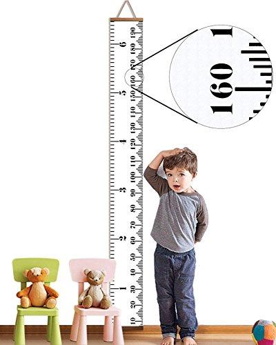 Messlatte Kinder, Mimicool Meßlatte Holz für Kinder Messlatte Kinderzimmer Hängende Wachstumskarte Wachstumsmesser Messleiste in Weiß(0-200cm)