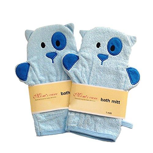 Ensemble de 2 molle bille de bain / joli bain mitt, chiens bleu
