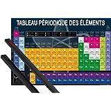 Poster + Suspension : Ecole Poster (91x61 cm) Tableau Périodique Des Éléments Et Kit De Fixation Noir 1art1®