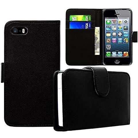 Apple iPhone 5/ 5S/ SE Étui HCN PHONE® Housse Portefeuille Etui Clapet Folio Livre Rabat pour Apple iPhone 5/ 5S/ SE - NOIR