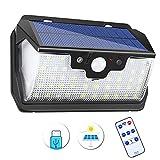 SOLMORE Solarleuchte für Außen, SOLMORE 55 LED Solarlampe mit Bewegungsmelder Solar Wandleuchte Solarlicht, 3 Modi 3000mAh IP65 Wasserdichte mit Fernbedienung und USB-Ladeanschluss 120° Weitwinkel für Garten