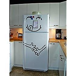 (31x 60cm) in vinile frigorifero Cute felice Yummy/Full stomaco Silhouette Art Decor frigorifero adesivo murale fai da te + senza casuale decalcomania regalo.