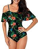 Angerella Schick Ruffled Trikots aus der Schulter Hohe Taille Hochdrücken Blumenmuster Monokini Anzug Für Frauen Schwarz XXXX Large