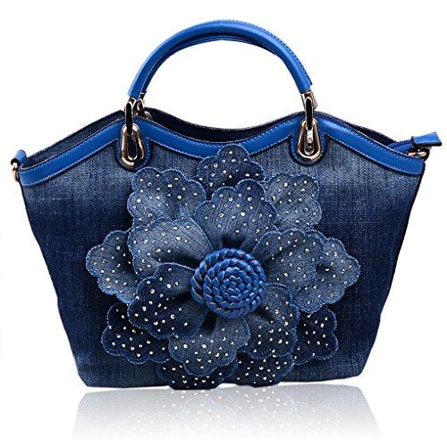 KAXIDY Damentasche Handtasche Schultertasche Tragetasche Denim Schultertaschen Jeansstoff Henkeltaschen (Rot) Blau