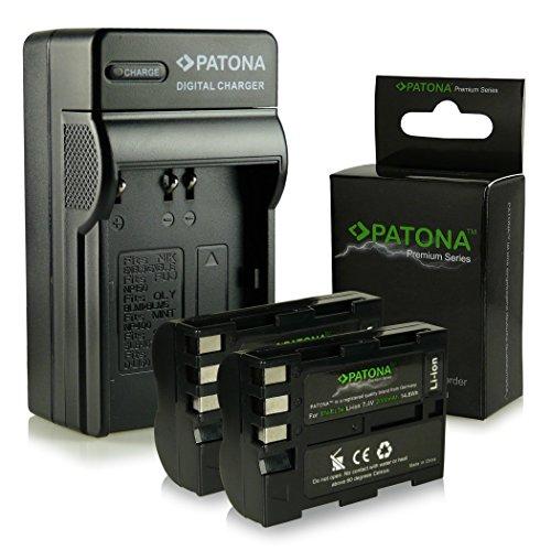 Bundle - 4in1 Ladegerät + 2x Premium Akku EN-EL3E für Nikon D50 | D70s | D80 | D90 | D200 | D300 | D300S | D700 [ Li-ion; 2000mah; 7.4V ]