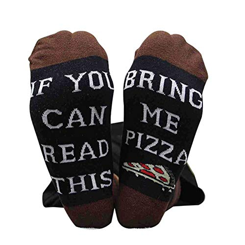 Qlans IF You CAN Read This, Bring ME A Pizza Brief gedruckt lustige Baumwolle Crew Socken Casual Socken
