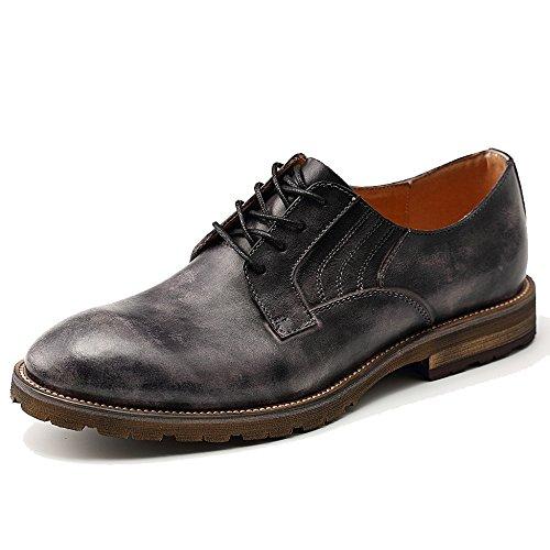 MERRYHE Herren Vintage Burnish Leder Derby Retro Lace Up Brogue Schuhe Abendkleid Hochzeitsschuh Für Party Work Office,Black-40 -