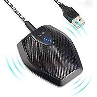 PiAEK USB Mikrofon Konferenzmikrofon , Mikrofon PC für Skype , YouTube , Recording , Gaming - Plug & Play mit 360°16ft Pickup-Reichweite mikrofon(Schwarz)