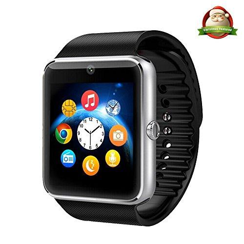 Yarrashop Bluetooth Smartwatch Uhr Intelligente Armbanduhr Fitness Tracker Armband Sport Uhr mit/Kamera/Schrittzähler/Schlaftracker/Romte Capture Kompatibel mit Android Smartphone (Silber)