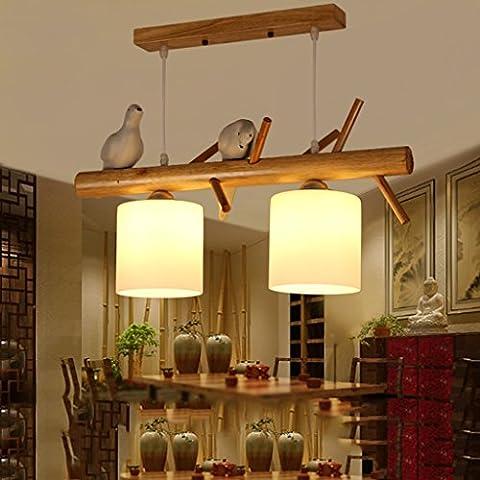 Bon lustre Lustre contemporain simple à trois portes pour le restaurant Lampe en bois solide créative Éclairage nordique pour oiseaux d'étude ( Couleur : Double head )