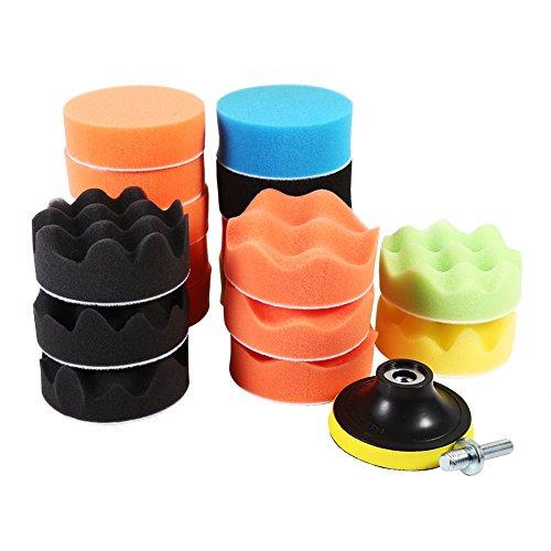 Vgeby Polierscheiben, Schaumstoff-Schwamm zum Polieren und Wachsen von Autos, mit M10Bohradapter, für die Reinigung, 7,6cm, 19-teilig