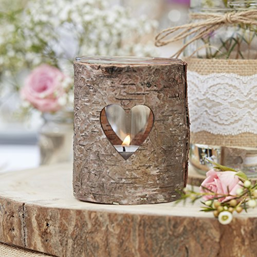 Ginger Ray Natural Wood and Glass with Heart Tealight Holders with Handle - Rustic Country