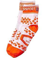 Compressport Pro Racing V2 Run Hi - Calcetines para hombre, color blanco / naranja, talla FR : L (Taille Fabricant : T3)