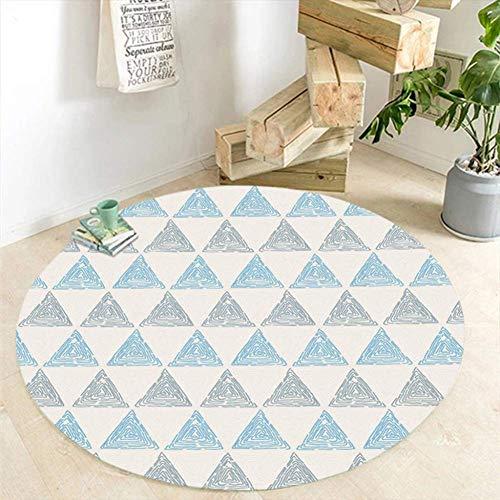 Naturer Runde Teppiche Abstrakte Dreieck Muster Teppiche Wohnzimmer Computer Stuhl Bereich Teppich Kinder Spielen Spiel Zelt Boden Mat, Durchmesser 80 cm, Blau