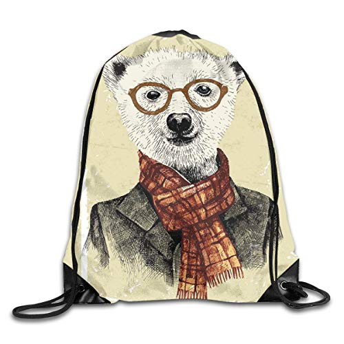 EELKKO Drawstring Backpack Gym Bags Storage Backpack, Hipster Bear with Glasses Scarf Jacket Wild Mammal Humorous Artwork,Deluxe Bundle Backpack Outdoor Sports Portable Daypack