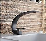 Euro Contemporary Curve Auslauf Einzelgriff Deck Montiert Badezimmer Waschbecken Wasserhahn heißes und kaltes Wasser Badezimmer Vanity Sink WC-Armaturen Badewanne Wannenmischer, Öl eingerieben Bronze