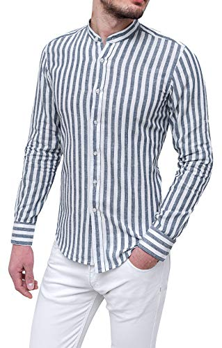 Evoga camicia 100% lino uomo casual rigata slim fit coreana (l, grigio)
