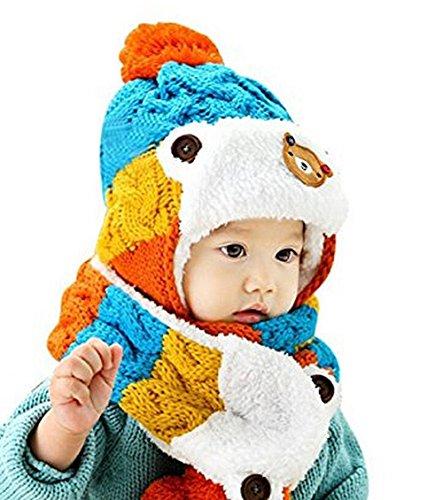 Blau Stricken Hut-set (cosanter Mütze Schal Set Baby Winter stricken Blau aus Wolle Gap für Kleinkinder 0–3Jahre alt Kinder)