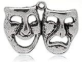 5x máscara teatro Comedia y Tragedia (perlas de plata tibetana encantos colgantes