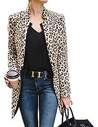 Carolilly Veste Femme Mi-Longue Léopard à Manches Longues Manteau Ouvert à  la Mode 0261a59a31ba