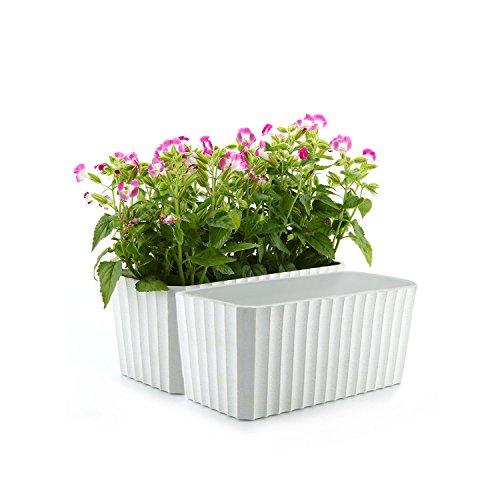 ComSaf Bac à Fleurs Auto-Irrigation Blanc Plastique Rectangle Lot de 2, Pot avec Réserve d'eau et Indicateur de Niveau d'eau Pot avec Système d'Arrosage pour Planter Les Plantes Facilement
