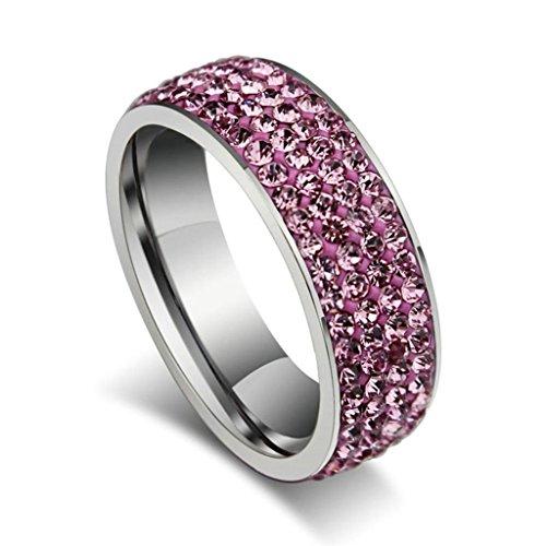 Edelstahlring Damen Ringe Pink Verlobungsring Diamant Bandring Zirkonia Ringe Größe 57 (18.1) - Adisaer Schmuck