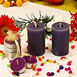 Kieana Christmas Candles For Decoration & Gifts, Set Of 2 Lavender Pillar With 4 Scented Lavender Fragrance Floating Tealight Votive For Pillars
