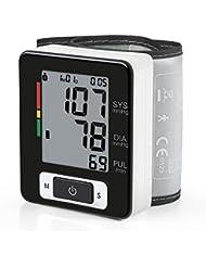 Amzdeal Tensiomètre électronique de poignet avec Grand précision automatique, Tensiomètre numérique avec détection de la fréquence cardiaque en lectures de Magasins de Mémoire de 90 - Noir