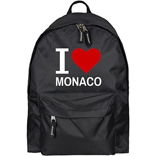 Rucksack Classic I Love Monaco schwarz - Lustig Witzig Sprüche Party Tasche