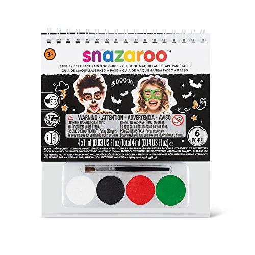 Snazaroo - Manual A6 de maquillaje con pintura facial y guía para pintar en 2 pasos, Halloween