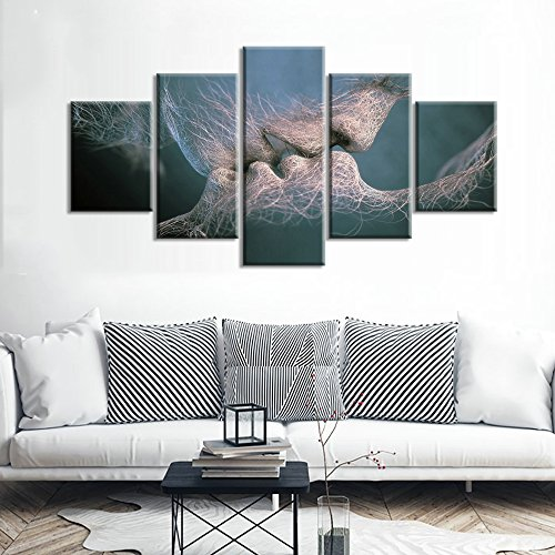 "LwqArt Wand-Dekor Black & White Love Kiss abstrakte Kunst auf Leinwand Malerei Wand Kunst Bild Print Home Decor(40"" W x 20"" H, Rahmen)"