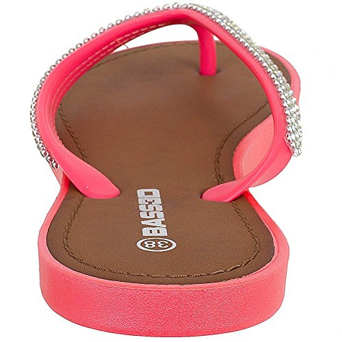 Bassed Women Flip Flops Sandalen Stranschuhe Zehentrenner Coral