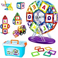BeebeeRun 112pcs Magnetic Tiles Set ,Construction Building Blocks Toys with Storage Box ,STEM Building Block Preschool Educational Construction Kit