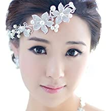 Tiaras Florales Con Perla Venda De Pelo Nupcial Accesorios Para El Pelo