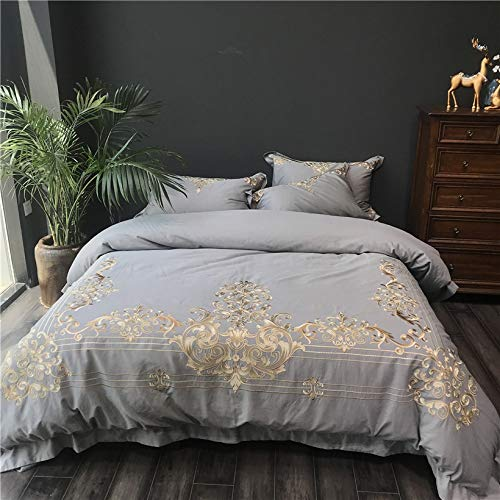 XULIM Bettwäschesatz von Vier Bettwäsche aus ägyptischer Baumwolle, Bettlaken und Bettgarnituren, King-Size-Bett, 220 * 240 cm